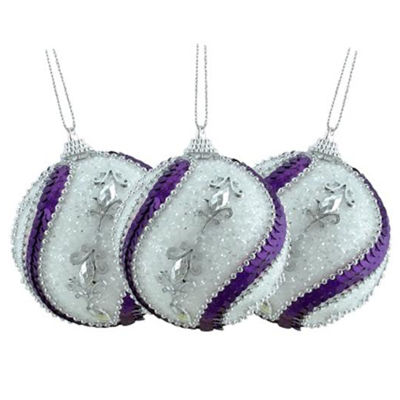 "3ct White  Purple Sequined and Silver Beaded Shatterproof Christmas Ball Ornaments 3"" (75mm)"
