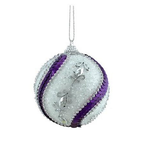 "3ct White  Purple Sequined and Silver Beaded Shatterproof Christmas Ball Ornaments 3"" (75mm)"""