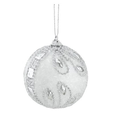"3ct White and Silver Beaded and Glittered Confetti Shatterproof Christmas Ball Ornaments 3"" (75mm)"""