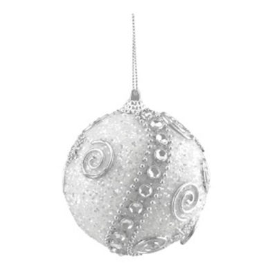 """3ct White and Silver Beaded and Glittered Shatterproof Christmas Ball Ornaments 3"""" (75mm)"""""""