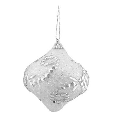 "3ct White and Silver Beaded and Glittered Shatterproof Onion Christmas Ornaments 3"" (75mm)"""