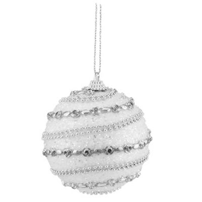 """3ct White and Silver Beaded Shatterproof Christmas Ball Ornaments 3"""" (75mm)"""""""