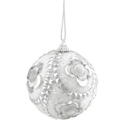 """3ct White and Silver Rhinestone and Glittered Shatterproof Christmas Ball Ornaments 3"""" (75mm)"""""""