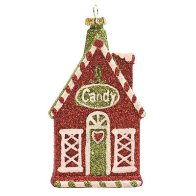 """4.25"""" Merry & Bright Red  White and Green GlitterShatterproof """"Candy"""" House Christmas Ornament"""""""