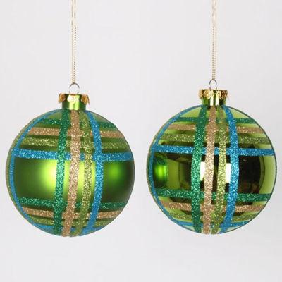 "4ct Lime Green w/ Blue  Green & Gold Glitter Plaid Shatterproof Christmas Ball Ornaments 4"" (100mm)"""