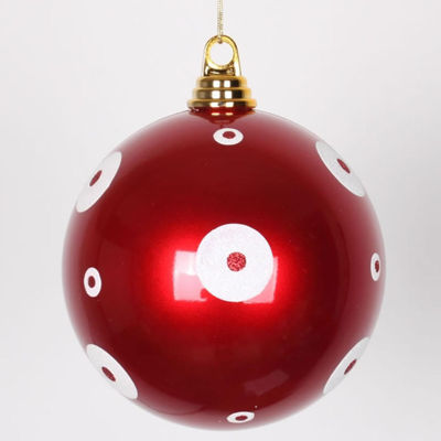 """Candy Apple Red with White Glitter Polka Dots Commercial Size Christmas Ball Ornament 6"""" (150mm)"""""""