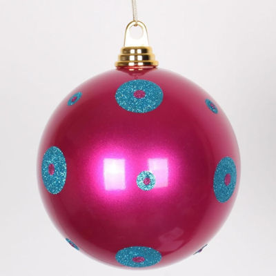 "Candy Cerise Pink w/ Turquoise Blue Glitter Polka Dots Commercial Size Christmas Ball Ornament 6""(150mm)"""