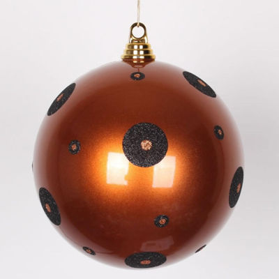 "Candy Copper with Black Glitter Polka Dots Commercial Size Christmas Ball Ornament 8"" (200mm)"""
