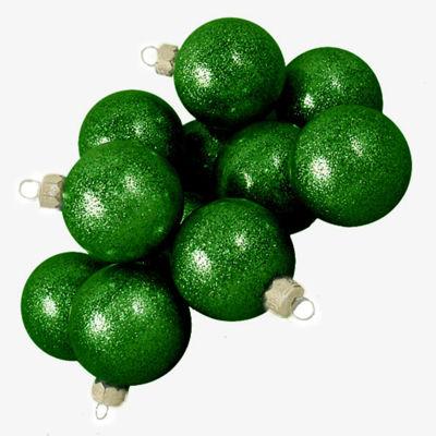 "Club Pack of 36 Green Envy Glitter Glass Ball Christmas Ornaments 2.75"" (67mm)"""