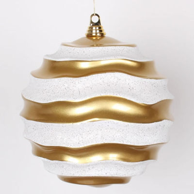 "Gold and White Glitter Wave Shatterproof Christmas Ball Ornament 10"" (250mm)"""