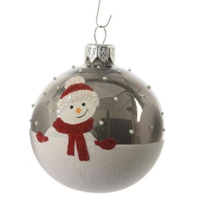 "Alpine Chic Pearl Gray Decorative Snowman Design Glass Christmas Ball Ornament 3.25"" (80mm)"""