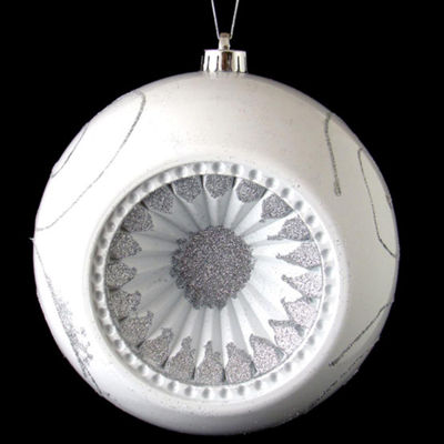 "White and Silver Retro Reflector Shatterproof Christmas Ball Ornament 8"" (200mm)"""