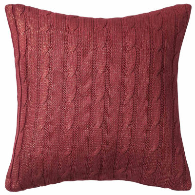Rizzy Home Christina Cable Knit Foil Print Decorative Pillow