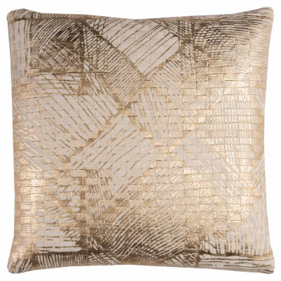Rizzy Home Connor Textured Foil Print Abstract Decorative Pillow