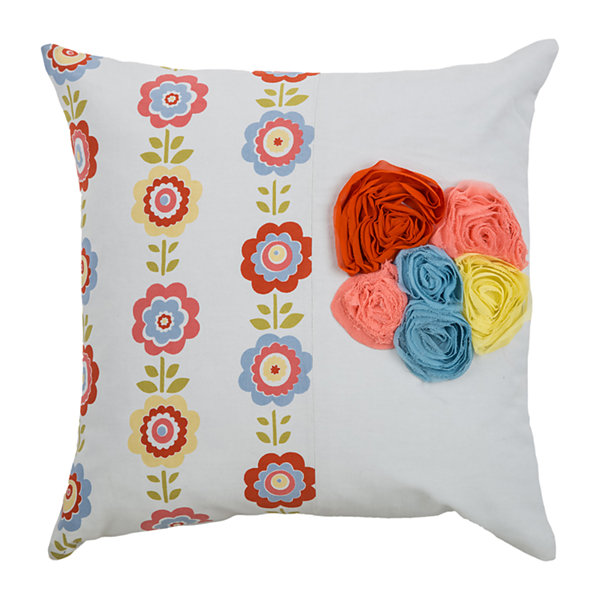 Rizzy Home Connor Floral Pattern Filled Pillow