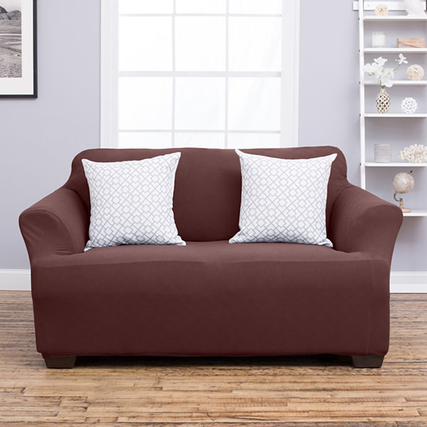 Cambria Collection Deluxe Heavyweight Form Fit Strapless Loveseat Slipcover