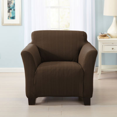 Darla Collection Platinum Cable Knit Form Fit Strapless Armchair Slipcover