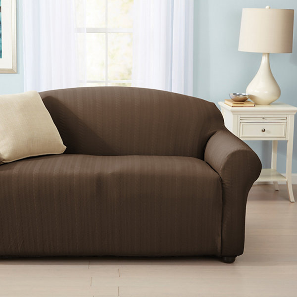 Darla Collection Platinum Cable Knit Form Fit Strapless Loveseat Slipcover