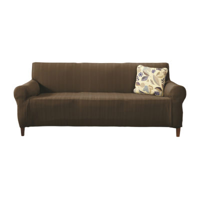 Darla Collection Platinum Cable Knit Form Fit Strapless Sofa Slipcover
