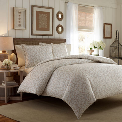 LAURA ASHLEY BROWN VICTORIA FLANNEL COMFORTER SET