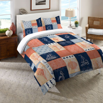 Laural Home Coral and Navy Coastal Duvet Cover