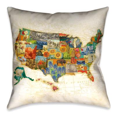 Laural Home Vintage Travel Map Decorative Pillow