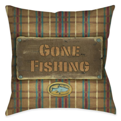 Laural Home Gone Fishing Decorative Pillow
