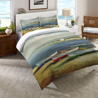 Laural Home Boats on the Beach Duvet Cover