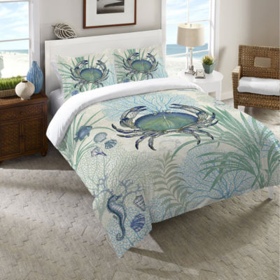 Laural Home Blue Crab Duvet Cover