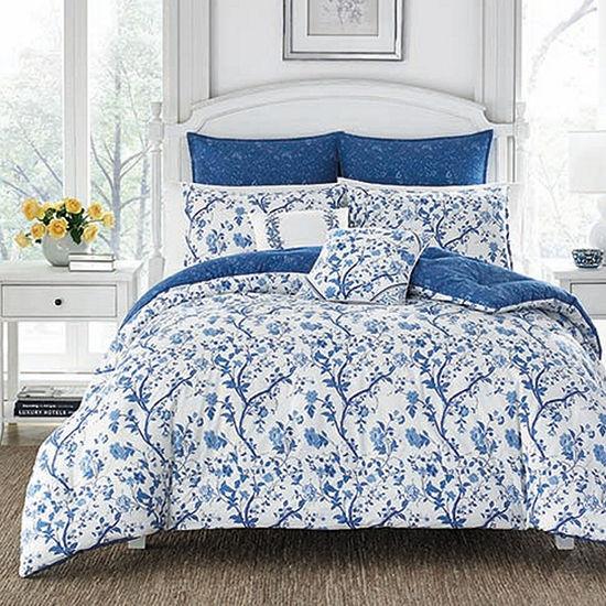 Laura Ashley Elise Navy Comforter Set, Color: Navy