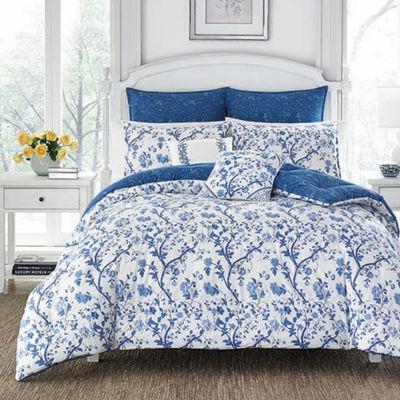 Laura Ashley Elise Navy Comforter Set