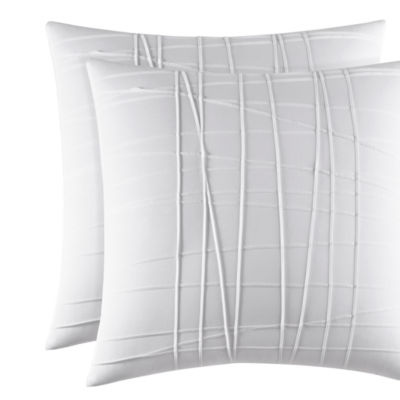City Scene Variegated Pleats White European Sham