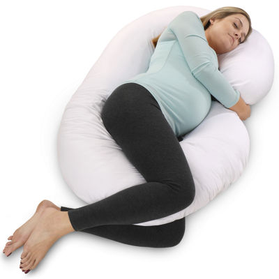 PharMeDoc C-Shape Maternity Pillow with White Cotton Cover