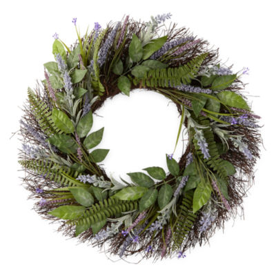 JCPenney Home Spring Floral Wreath Lavender Wreath
