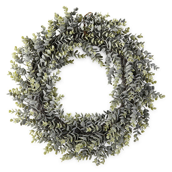 JCPenney Home Spring Floral Wreath Boxwood Wreath