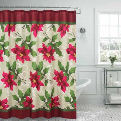 Poinsettia Textured Shower Curtain