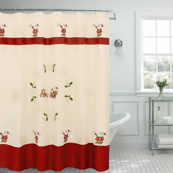 Santa Embroidered Shower Curtain