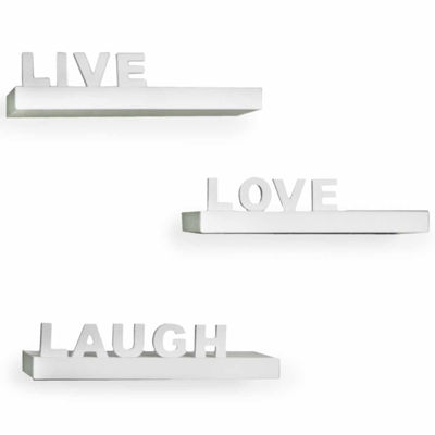 "Danya B. Decorative ""Live"" ""Love"" ""Laugh"" Wall Shelves (Set of 3)"