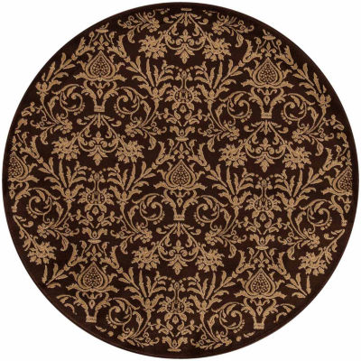 Concord Global Trading Jewel Collection Damask Round Area Rug