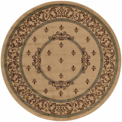 Concord Global Trading Jewel Collection Fleur De Lys Medallion Round Area Rug