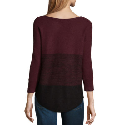 a.n.a 3/4 Sleeve Scoop Neck Pullover Sweater-Petites