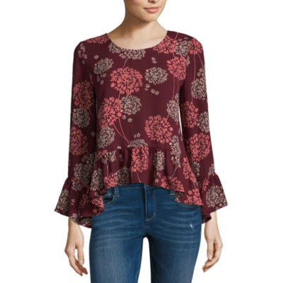 a.n.a Long Sleeve Round Neck Woven Blouse-Petites