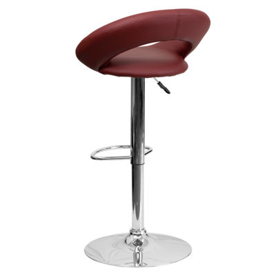 Contemporary Vinyl Rounded Back Adjustable HeightBarstool with Chrome Base