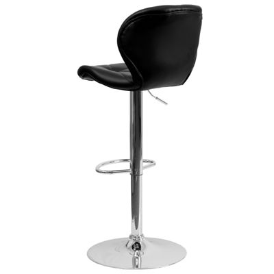 Contemporary Tufted Vinyl Adjustable Height Barstool with Chrome Base
