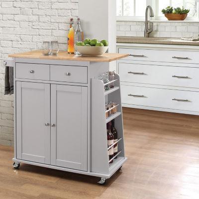 Tullarick Wood-Top Kitchen Cart