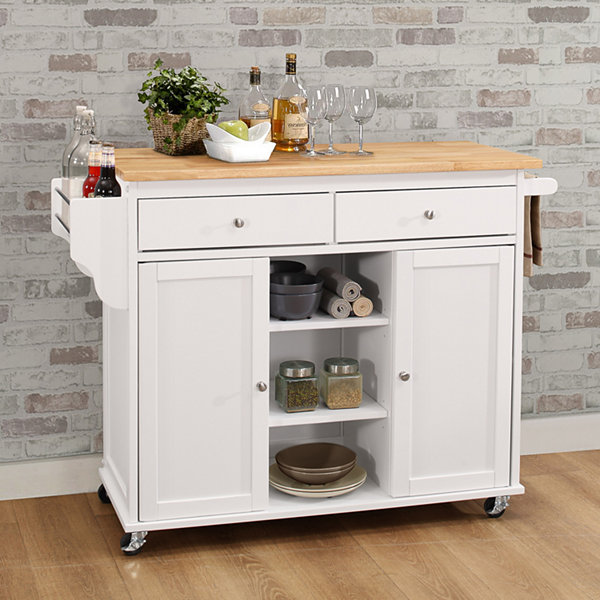 Tullarick Wood-Top Kitchen Island