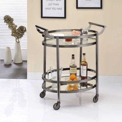 Lakelyn Glass-Top Serving Cart