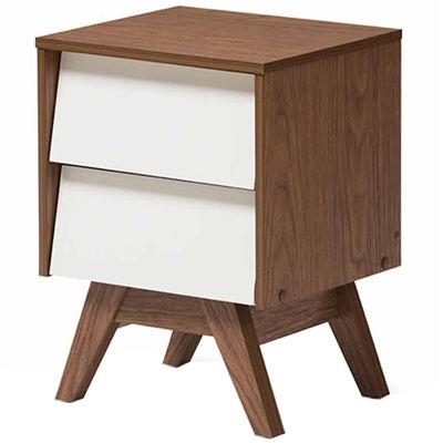 Baxton Studio Hildon Mid-Century Modern White and Walnut Wood 2-Drawer Storage Nightstand