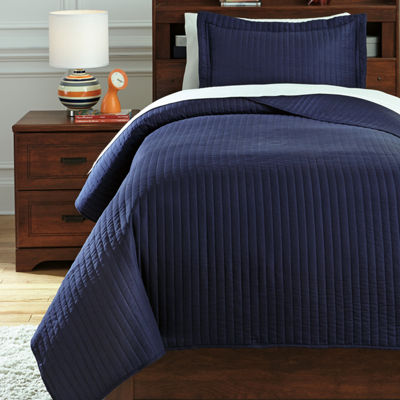 Signature Design by Ashley® Raleda Navy Coverlet Set