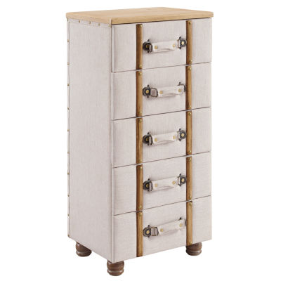 Sarah Five Drawer Padded Accent Cabinet